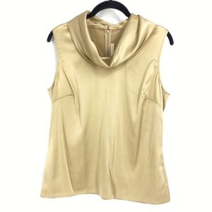 St John Couture Cowl Neck Silk Gold Blouse